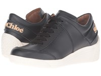 See By Chloe Sb27160 Nero Sneaker Calf Women's Lace Up Casual Shoes Black