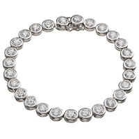 Jools By Jenny Brown Round Rubover Cubic Zirconia Tennis Bracelet Silver