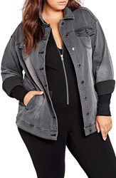 Addition Elle Love And Legend Plus Size Women's Oversize Denim Trucker Jacket