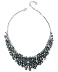 Charter Club Silver Tone Imitation Pearl Shaky Collar Necklace Only At Macy's