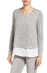 Gibson Women's Mixed Media Layered Look Top Grey Ivory