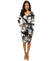 Adrianna Papell V Neck Center Ruched Dress Black Multi Women's Dress