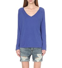 Sundry Long Sleeved Cotton Jersey Top Lapis