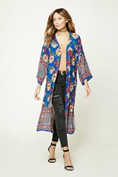 Forever 21 Floral And Paisley Print Kimono Blue Burgundy