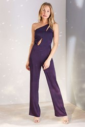Oh My Love Sisyrinchium Satin One Shoulder Jumpsuit Plum