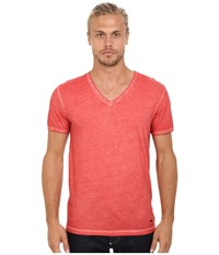 Boss Orange Toulouse Garment Dyed Jersey Fashion Fit Short Sleeve V Neck Tee Bright Red Men's T Shirt