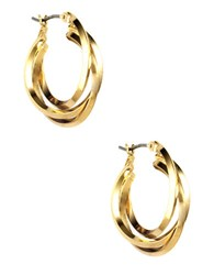 Anne Klein Gold Plated Three Ring Hoop Earrings
