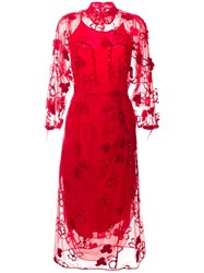 Simone Rocha Floral Tulle Midi Dress Red
