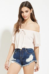 Forever 21 Embroidered Mesh Trim Crop Top Blush