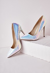 Missguided Stiletto Heel Court Shoes White Holographic White