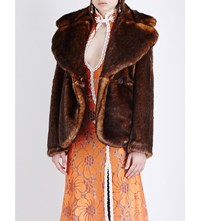 Alessandra Rich Double Breasted Faux Mink Jacket Brown