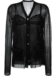 Sacai V Neck Sheer Blouse Black