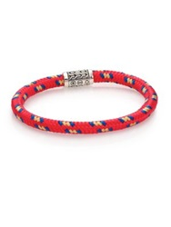 John Hardy Classic Chain Sterling Silver And Cord Station Bracelet Red Multi