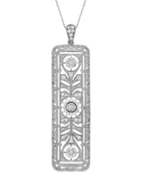 Effy Collection Bouquet By Effy Diamond Vintage Flower Rectangle Pendant Necklace In 14K White Gold 7 8 Ct. T.W.