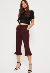 Missguided Burgundy Frill Hem Cropped Trousers