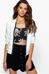 Boohoo Lace Crochet Bomber Jacket White