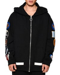 Off White Zip Up Hoodie W Arm Patches Black Black White