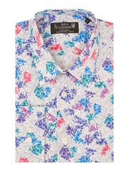 New And Lingwood Men's Hendon Tropical Print Shirt Blue