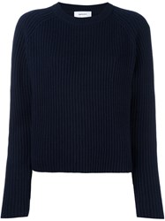 Carven Ribbed Cropped Jumper Blue