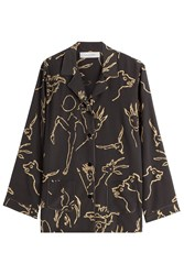 Valentino Printed Silk Blouse Black