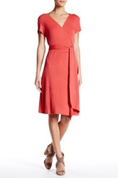 Max Studio Short Sleeve Wrap Dress Red