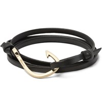 Miansai Grained Leather And Gold Plated Hook Wrap Bracelet Black
