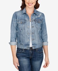 Lucky Brand Embroidered Denim Jacket Windy Blue