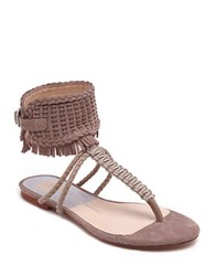 Dolce Vita Reagan Woven Leather And Suede Thong Sandals Almond