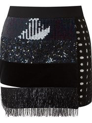 Giuliana Romanno Applique Mini Skirt Black