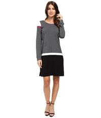 Hatley Knit Zip Back Dress Charcoal Color Block Women's Dress Gray