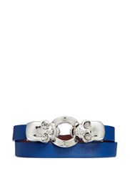 Alexander Mcqueen Horsebit Twin Skull Double Wrap Leather Bracelet Blue