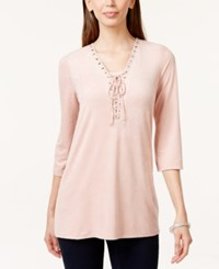 Styleandco. Style And Co. Lace Up Faux Suede Blouse Only At Macy's