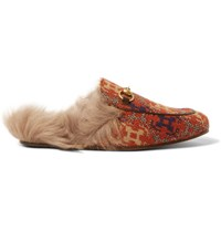 Gucci Princetown Shearling Lined Jacquard Loafers Red