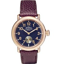 Shinola The Runwell 36Mm Pvd Rose Gold Plated And Pebble Grain Leather Watch Blue