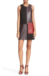 Parker Women's 'Leo' Patchwork Leather And Suede Shift Dress
