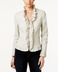 Inc International Concepts Ruffled Poplin Jacket Only At Macy's Toad Beige