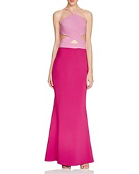 Maria Bianca Nero Cutout Halter Gown Hot Pink Raspberry