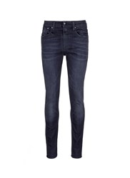 R 13 'Skate' Distressed Slim Fit Jeans Black