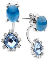 Lonna And Lilly Stone Crystal Front Back Earrings Blue Silver