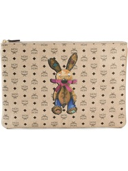 Mcm Printed Clutch Nude And Neutrals