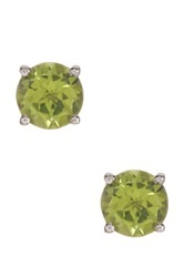 Olivia Leone Sterling Silver Round Peridot Stud Earrings Green