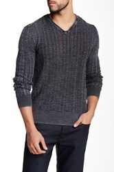 Star Usa By John Varvatos Long Sleeve V Neck Cable Sweater Gray