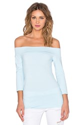 Susana Monaco Banded Off The Shoulder Top Blue