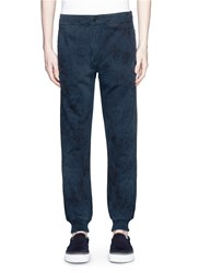 Paul Smith Tie Dye Effect Cotton Sweatpants Blue