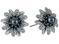 Marc Jacobs Dark Plumes Pearl Studs Earrings Jet Antique Silver