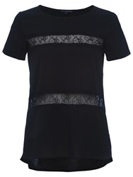 French Connection Polly Plains Shortsleeved Roundneck Top Black