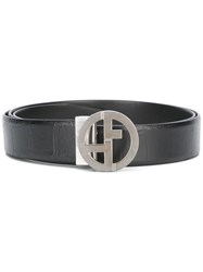 Giorgio Armani Reversible Monogram Buckle Belt Black