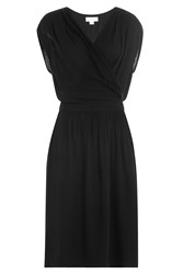 Velvet Embroidered Dress Black