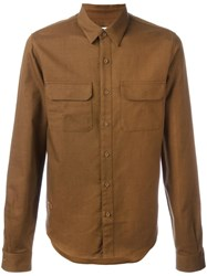 Lacoste Cutaway Collar Shirt Brown