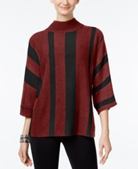 Ny Collection Mock Neck Striped Sweater Burgundy Black Combo